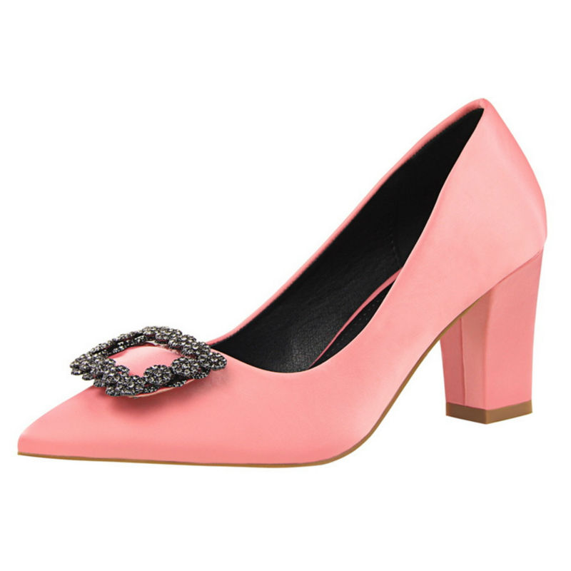 ФОТО Temperament Square High Heel Women Pumps Shallow Mouth Satin Crystal Buckle Women Fashion Shoes W01069-6