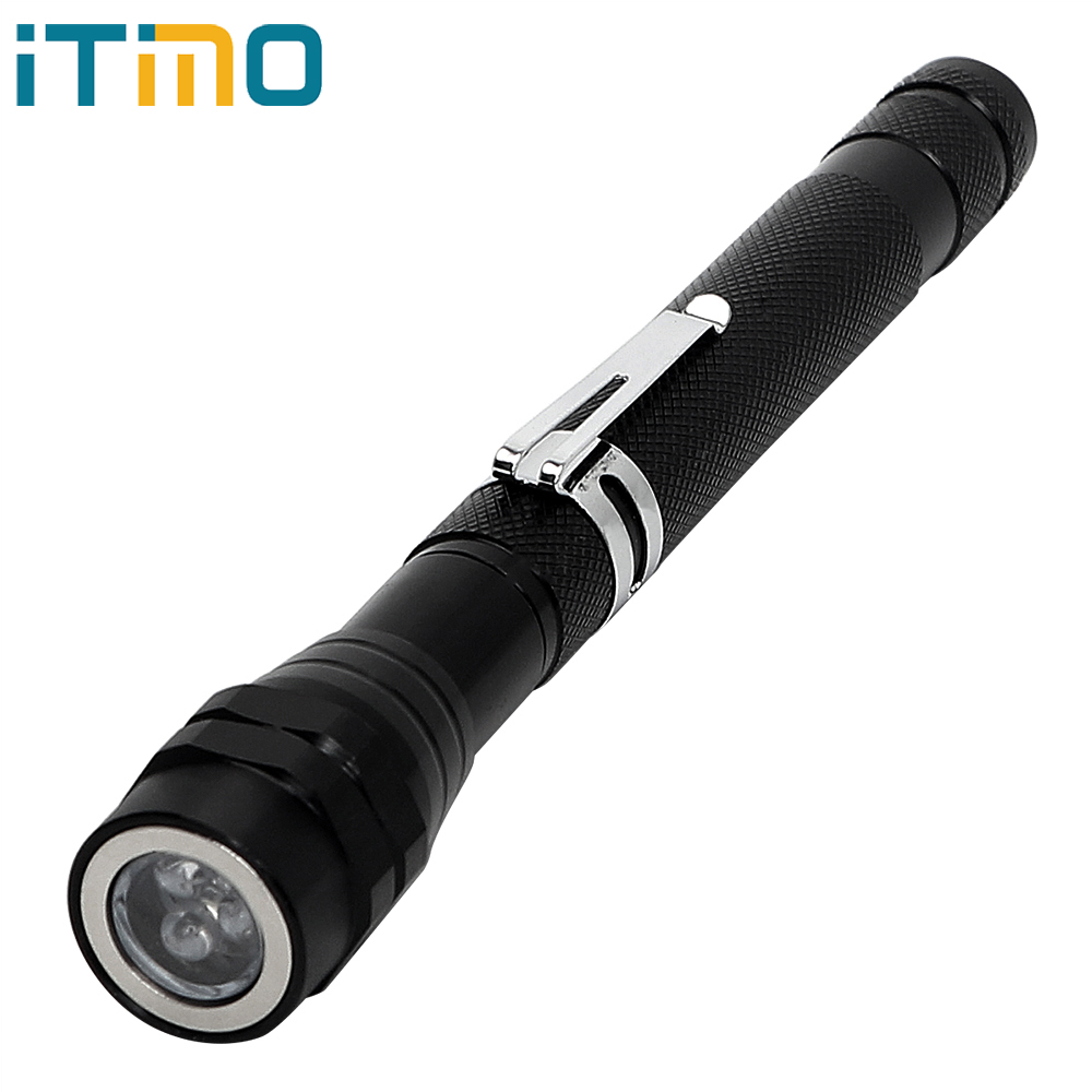 ITimo LED Flashlight Magnetic Pick Up Tool Telescopic Lantern Flexible Neck Waterproof Mini Portable Light Multifunctional