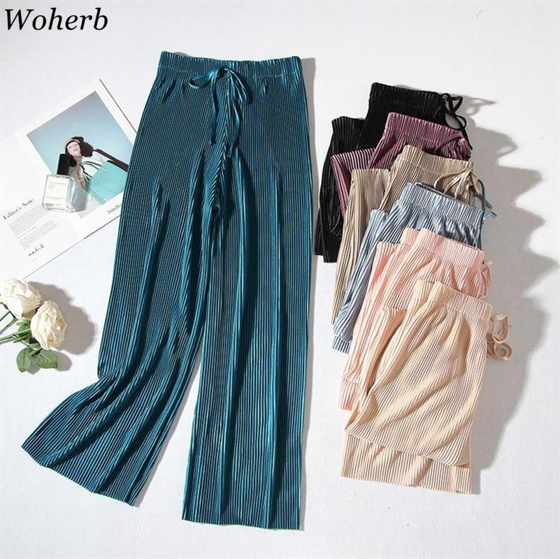 Woherb Summer Thin Chiffon   Wide     Leg     Pants   2019 Korean Elegant Casual Stretch High Waist Pleated Trousers Women Bandage Pantalon