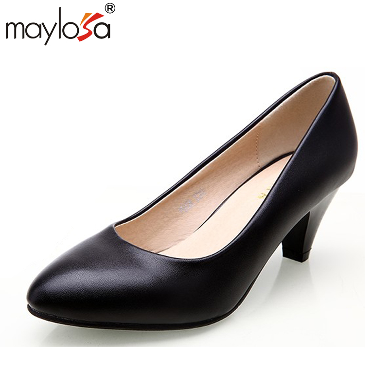 MAYLOSA Spring Autumn Shoes Woman 100% Genuine Leather Women Pumps Lady Leather Round Toe Platform Shallow Mouth Shoes Size 43 women shoes spring autumn 100