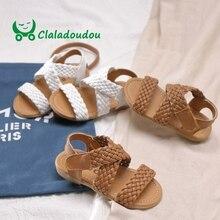 Claladoudou 13.5-18cm girls fashion school sandals white bro