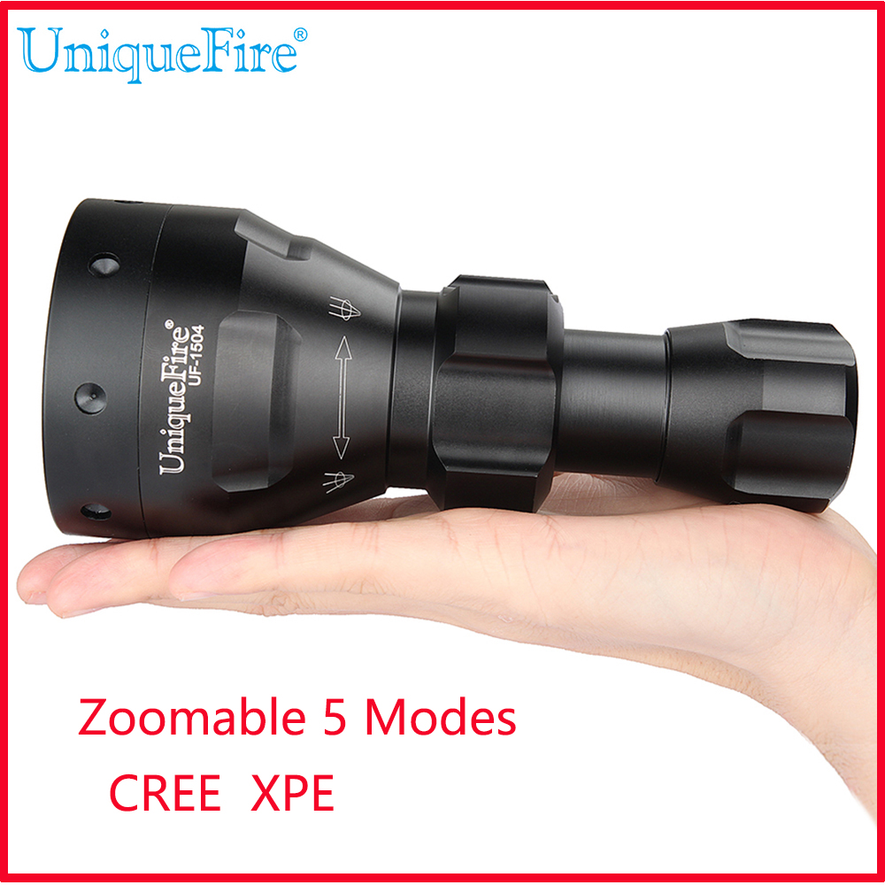 UniqueFire UF-1504 Cree XPE 3W LED Flashlight Torch Adjustable Focus 67mm Lens Zoom 5 Mode Light Lamp Black Color good price waterproof magic led ball supplier ip 68 supplier