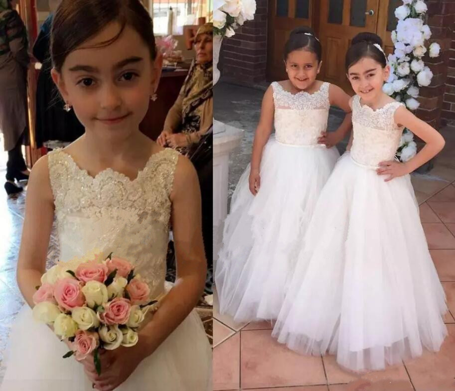 White Ivory Lace A Line Flower Girls Dresses for Wedding Beading Princess Girls Pageant Gown Size 2-16Y h12094 princess hemline bridal gown white size xl