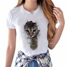 KLV Women T Shirt 3D Cat O-Neck Summer Casual Short Sleeves Naughty Girls Tops Tees