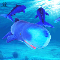 BOLAFYNIA Children Plush Stuffed Toy sperm whale marine simulation animal Baby Kids Toy for Christmas Birthday gift