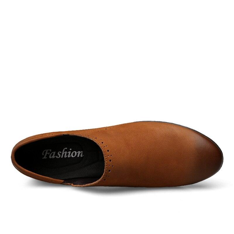 Véritable Plates Bateau Chaussures Conduite Respirant Slip Cuir En Mocassins Noir Printemps Ramialali Hommes Mode marron Style on Automne Britannique tw0nqSxIO