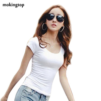 Women T Shirts Summer Short Blouses Solid O Neck Casual Shirt Tops Plus Size S M