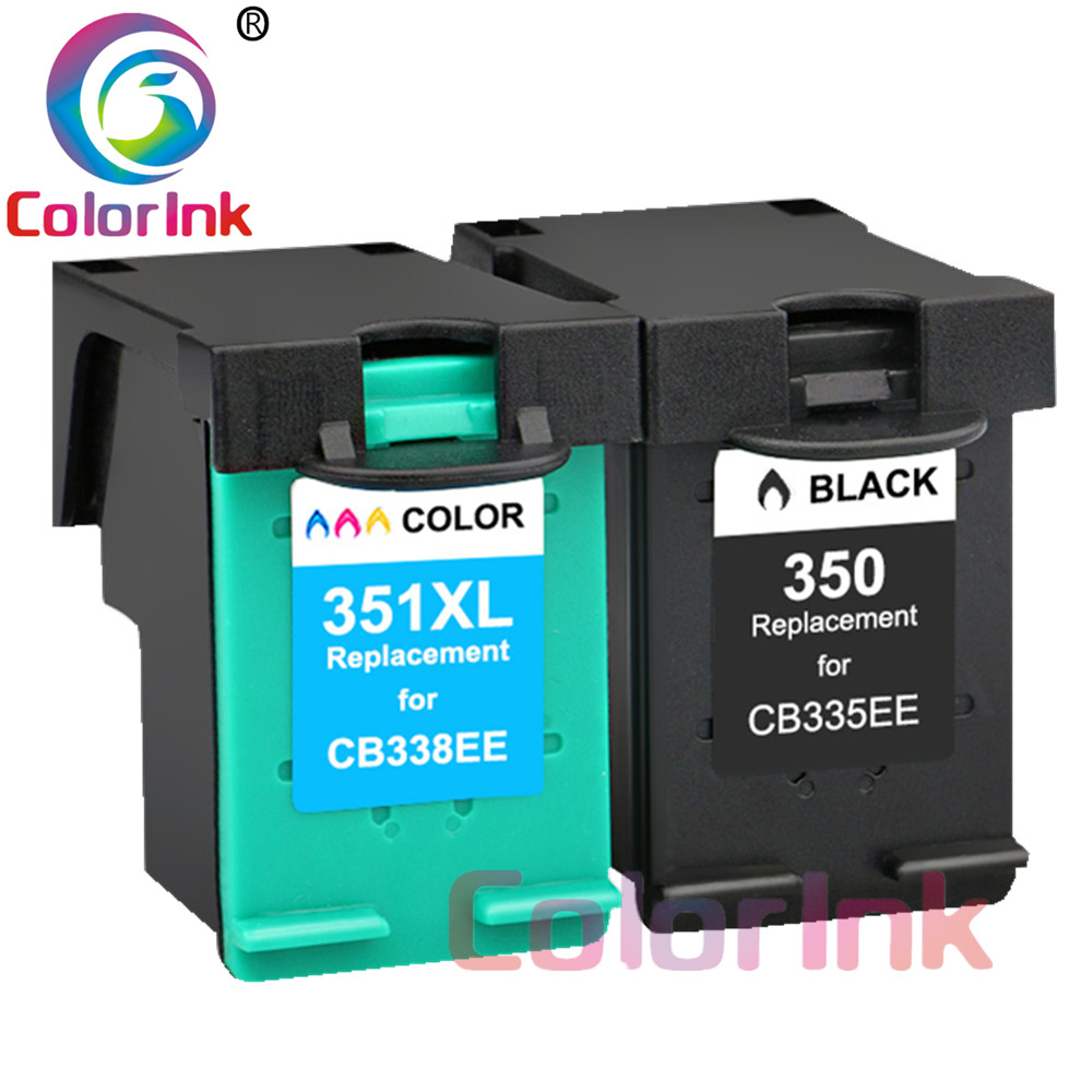 ColoInk 2Pack 350XL 351XL Refilled ink <font><b>cartridge</b></font> Replacement for <font><b>HP</b></font> 350 xl <font><b>351</b></font> xl for <font><b>HP</b></font> D4200 D4260 D4263 D4360 J5730 5780 5785 image