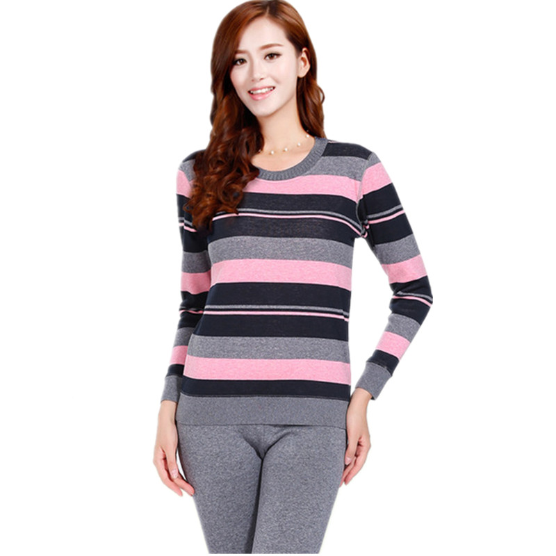 Plus Size Slim Velvet Warm Suit For Women Thick Thermos Second Female Thermal Skin Fashion Striped Ladies Thermal Underwear Set