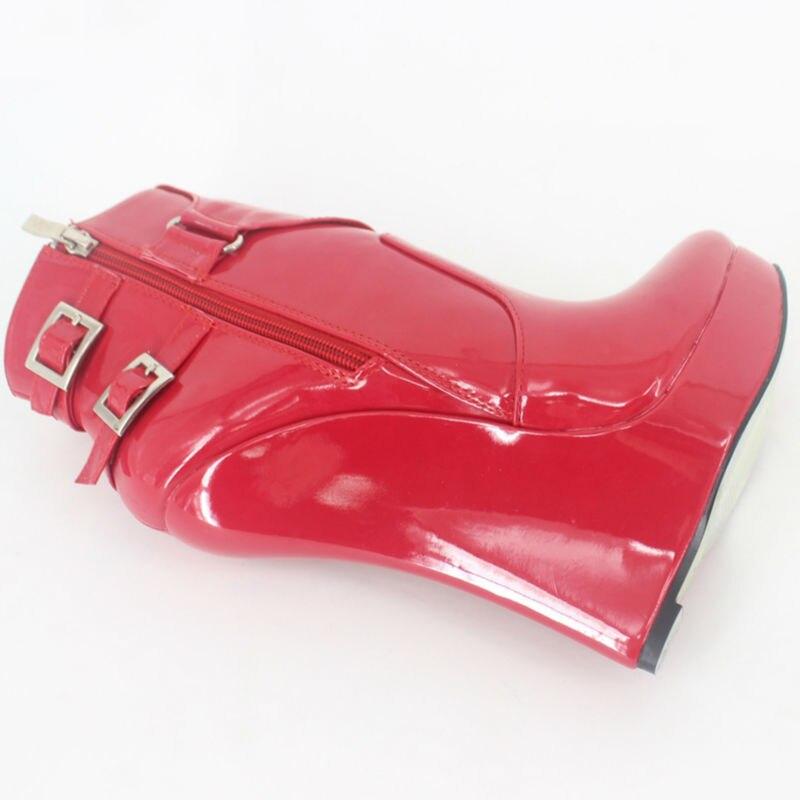Court Cheville Femmes rouge Wedge Sexy D'hiver Haute Mujer Talon Talons Bottes Plate rose pourpre Australie Femme Noir Sans Botas forme Chaussures Bw4xd0q