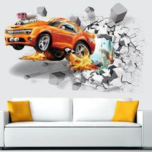3D Cartoon Cars Through Wall Accident Pattern Wall Stickers For Kids R