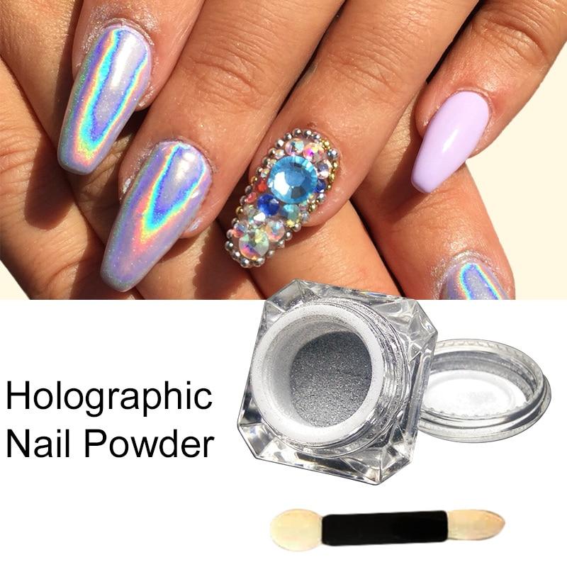 Extra Fine Holographic Chrome Nail Art Powder: 2016 New Arrival 1Box Holographic Laser Powder Punk Nail