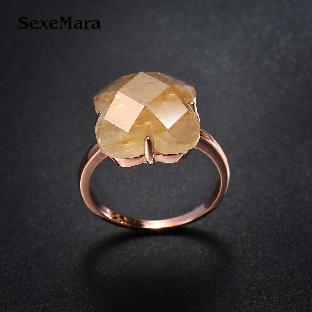 yellow stone Wedding Rings for women Jewelry Rose Gold color engagement Rings female Anel bijoux party gift top quality