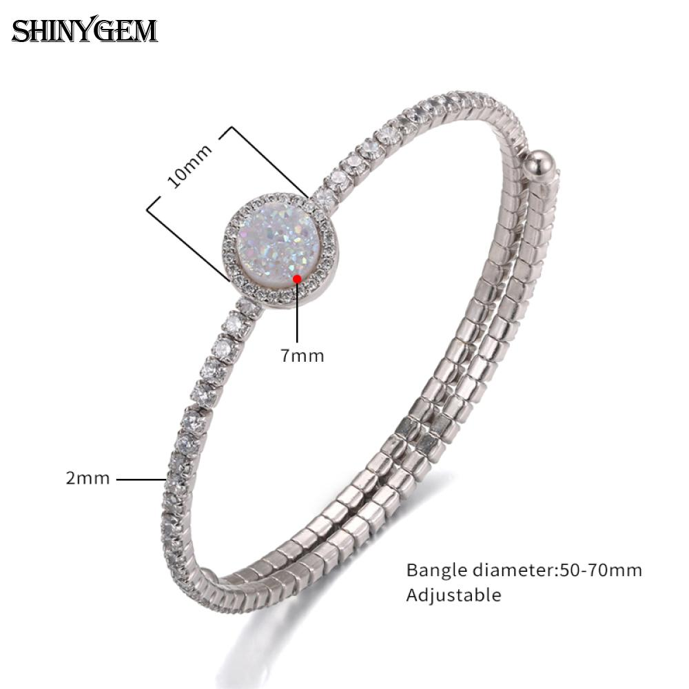 ShinyGem 925 Silver Crystal Jewelry Sets For Women Sparkling Natural Druzy Stone White Zricon Bridal Jewelry Sets 2019 in Jewelry Sets from Jewelry Accessories