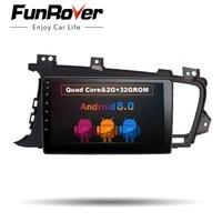 Funrover 9 Android 8.0 2 din Car DVD Player for Kia K5 Kia Optima 2011 2015 gps radio RDS stereo multimedia usb wifi video navi