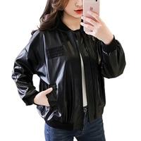 Coreano motocicleta chaqueta de cuero mujeres pu coat stand collar manga larga moda negro invierno Abrigos femenino Chaquetas mujeres Tops
