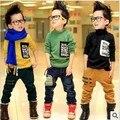 O envio gratuito de 2013 novas roupas de inverno crianças com temperamento moda dos meninos óculos bolso T camisa A041