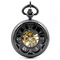 Classic Elegant Hand Winding Vintage Unique Roman Numerals Round Pendant Hunter Mechanical Jewelry Chain Pocket Watch Men