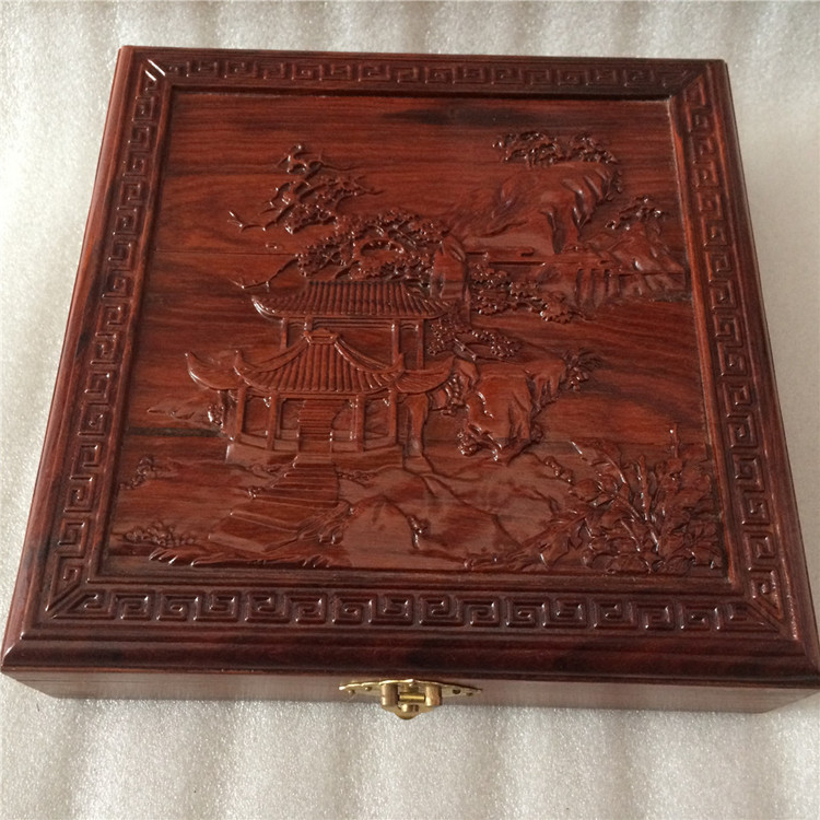 Collection of antique mahogany jewelry storage box square red gem jade buckle antique jewelry box gifts to share