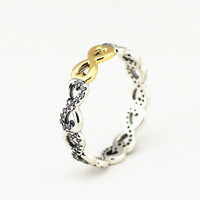 Authentic 925 Sterling Silver Infinity Ring With 14k Real Gold & Clear CZ for Women DIY Fine Jewelry SR048K