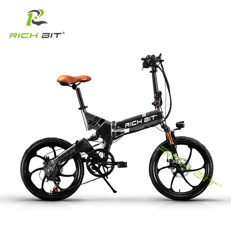 RichBit 48V Hidden Battery Folding Electric Bike 21 Speed Integrated Rim Electric Bicycle With USB Cell Phone Recharger Holder