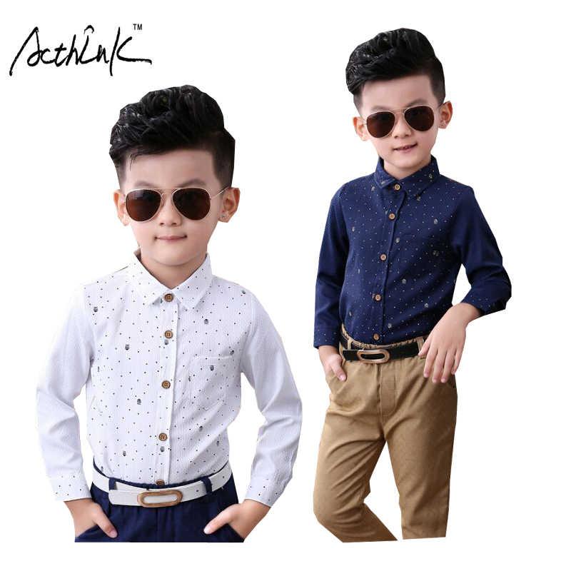 5d06c09d22c4b ActhInK nueva primavera niños Polka Dot boda completa camisas para niños  Inglaterra estilo camisas Formal de