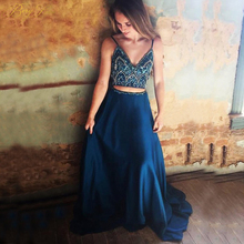 купить BeryLove Two Pieces Blue Prom Dress 2019 V Neckline Beaded Satin Evening Dress Styles Spaghetti Straps Long Formal Party Gowns дешево