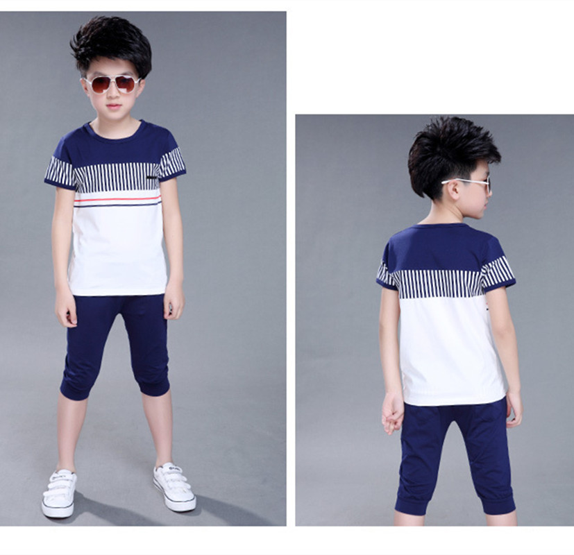 2018 Boys Summer Clothing Set Fashion Casual Sports Short Sleeve Cotton Children Clothes Sets Color Navy / White 120-160