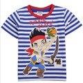 Promoção de venda quente 2017 nova marca Criança Tshirts do bebê meninos Jake e os Piratas Do Neverland roupas tops de verão blusa de banda desenhada