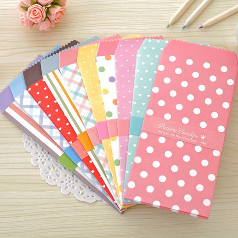 50pcs 10 Colorful Dots Heart Striped Designs Paper Envelopes Party Favor Bags Kraft Gift Paper Bags 19.5x8.5cm