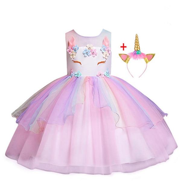 69bf8205708437 2019 fille licorne fleur robe enfants fête d'anniversaire Cosplay Costume  enfant en bas âge Pageant princesse robes Tulle Tutu arc ciel Costumes