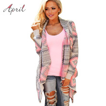 Pink Kimono Cardigan Blouses 2016 Women Geometric Printed Long Sleeve Cotton Coat Fashion Knitted Poncho Tops Casual Blouse