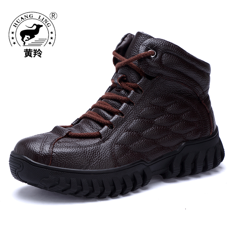 HUANGLING Winter Fashion Men Boots lace up Genuine Leather