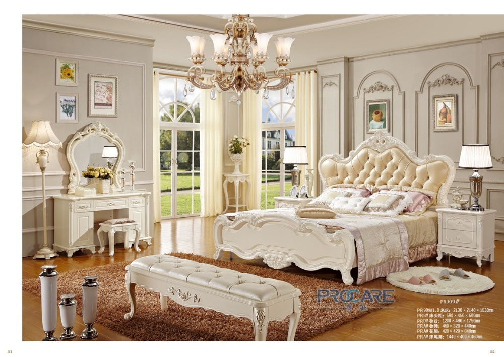 European Royal Antique Style Solid Wood Hand Carved Home Furniture Bed Room Sets With Bedside Table Made In China 909