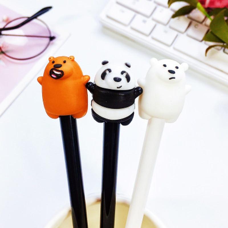 1pcs Fat Bear Gel Pens 0.5mm Kawaii Gel Pens Novelty Stationery Student Cute Pen Black Signing Pen Kawaii School Supplies