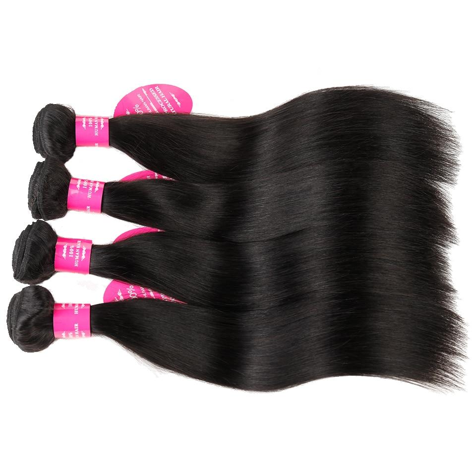 Drottning som hårprodukter Remy Human Hair Bundles 4 stycken / - Mänskligt hår (svart)