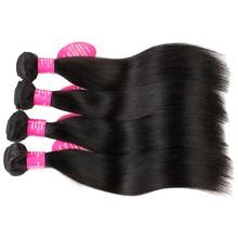 Karalienė kaip plaukų gaminiai Remy Žmogaus plaukų paketai 4 gab. / Daug natūralios spalvos Brazilijos plaukų audimo tiesiai plaukų paketai
