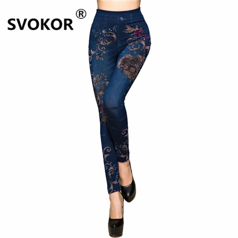 SVOKOR Sale Seamless Super Stretch 2018 New Hot Jeans Chrysanthemum Printing Soft Ladies Leggings Women Sports Pants Girl
