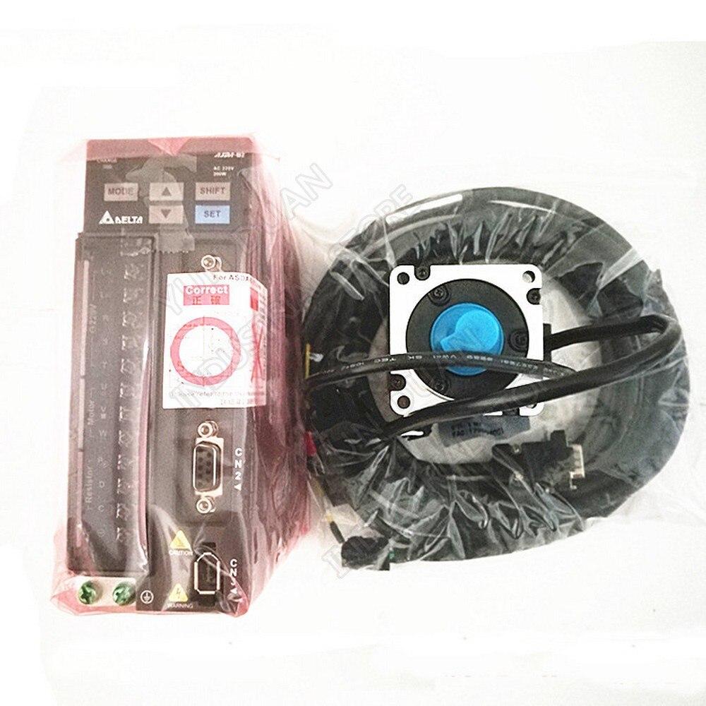 Servo da c.a. do delta com freio 200 w ASD-B2-0221-B ECMA-C20602SS 0.2kw 0.64nm 3000rpm 60mm b2 jogo da movimentação do motor & cabo de 3m novo na caixa