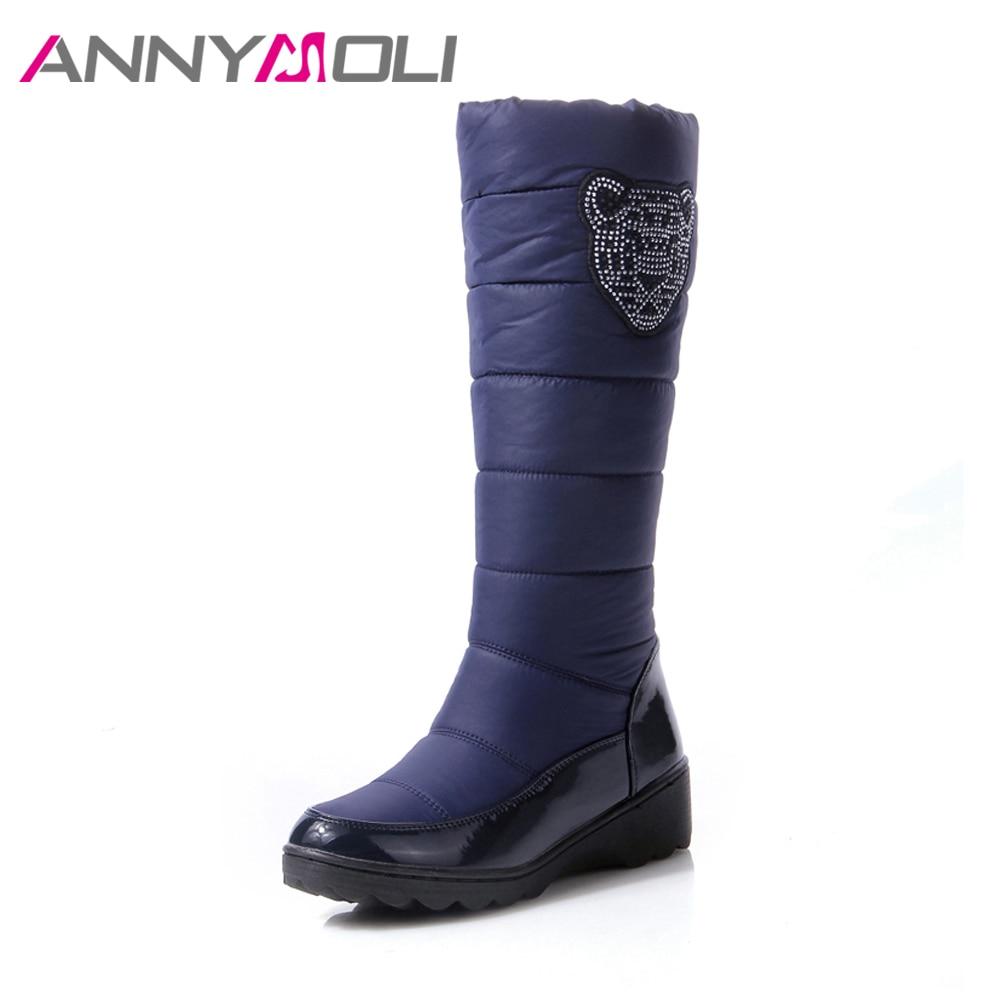 ANNYMOLI Winter Snow Boots Fur Warm Women Knee High Boots Plush Waterproof Flat Platform Boots Cotton Shoes Blue Big Size 44 цены онлайн