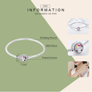 Image 3 - WOSTU wysokiej jakości prawdziwe 925 srebro Licorne Charm bransoletka dla kobiet Fit oryginalny marka DIY koraliki bransoletka biżuteria CQB083
