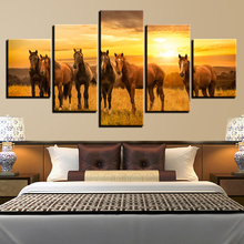 Wall Art Poster HD Printed On Canvas Modular 5 Pieces Horses Group Sunshine Natural Scenery Paintings Decor Living Room Pictures