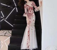 2019 new banquet elegant and long sexy fishtail dress