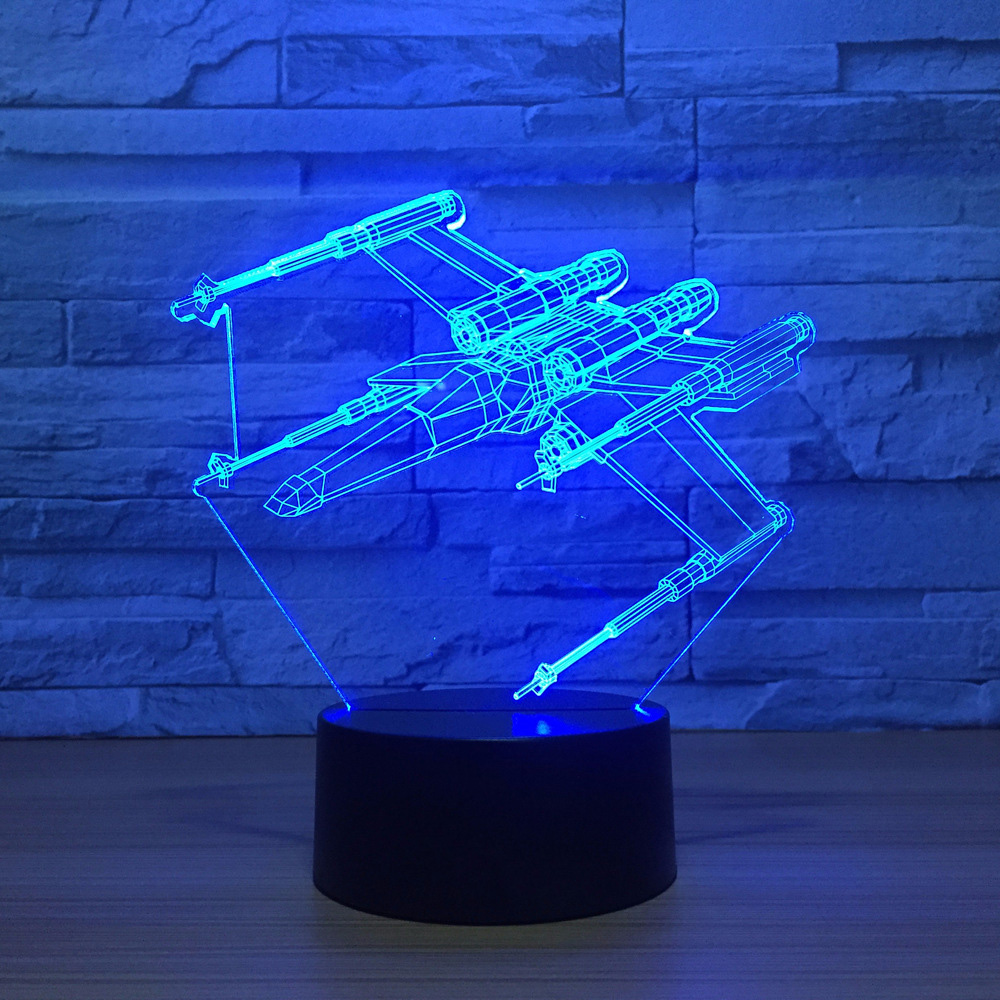 Usb 7 Color Changing 3D Led Nightlight Star Wars X-Wing Modelling Kids Touch Button Aircraft Desk Lamp Laser Light Fixture Decor 3d fire engine modelling table lamp 7 colors changing fire truck car night light usb sleep light fixture bedroom decor kids gift