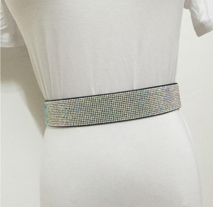 Women's Runway Fashion Diamonds Elastic Cummerbunds Female Dress Corsets Waistband Belts Decoration Wide Belt R1546
