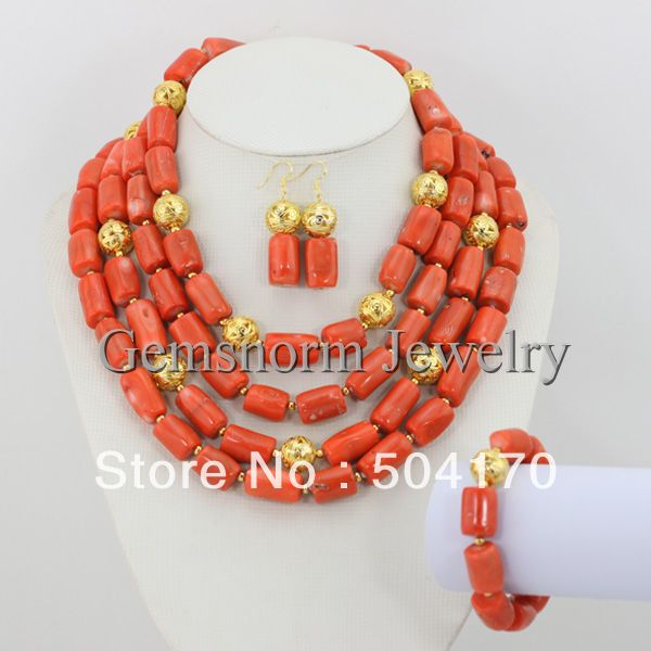 African Coral Beads Jewelry Set 2017 New Design African Wedding