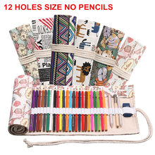 12 Holes Pencil Case Fabric School Supplies Art Pencil Pouch Canvas Pen Wrap Roll Makeup Brush Pen Storage Stationery Student
