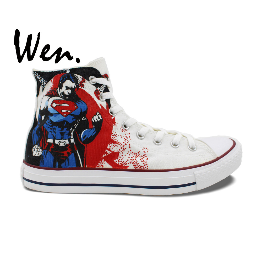Wen White Hand Painted Shoes Design Custom Superman Man Woman s High Top Canvas Sneakers Boys