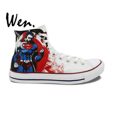 Wen White Hand Painted Shoes Design Custom Superman Man Woman's High Top Canvas Sneakers Boys Girls Christmas Gifts