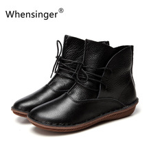 Whensinger - 2016 Women Shoes Spring Female Full Grain Leather Boots Fashion Plain Solid Round Toe Vintage Literary 506-H